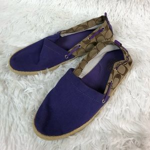 Coach Purple Mellow Canvas Espadrilles Flats 8 m